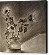 Still Life Ceramic Pitcher With Three Sunflowers Canvas Print