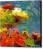 Still Life Fruits In Vase Canvas Print by Yury Malkov