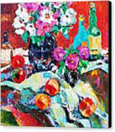 Still Life In Studio With Blue Bottle Canvas Print