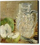Still Life With A Cut Apple And A Pitcher Canvas Print by Berthe Morisot