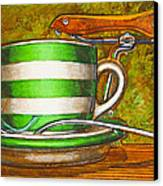 Still Life With Green Stripes And Saddle  Canvas Print by Mark Jones