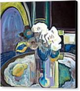 Still Life With Lemon And Two White Roses Canvas Print by Therese AbouNader