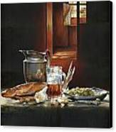 Still Life With Olives And Fish Canvas Print by Victor Mordasov