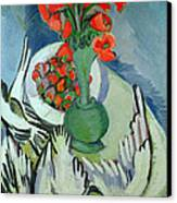 Still Life With Seagulls Poppies And Strawberries Canvas Print