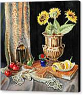 Still Life With Sunflowers Lemon Apples And Geranium  Canvas Print