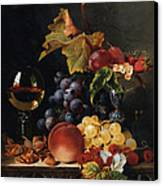 Still Life With Wine Glass And Silver Tazz Canvas Print by Edward Ladell