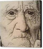 Stippling Of An Old Man Canvas Print by Lisa Marie Szkolnik