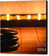 Stone Cairn And Candles For Quiet Meditation Canvas Print