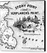Stony Point Map, 1779 Canvas Print by Granger