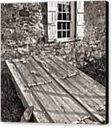 Storm Cellar And Window Canvas Print by Mark Miller