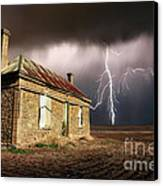 Storm Over Ruin Canvas Print by Shannon Rogers