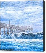Storm Over The Sea - Tybee Pier Canvas Print