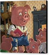 Story Telling Pig With Family Canvas Print