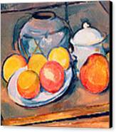 Straw Covered Vase Sugar Bowl And Apples Canvas Print
