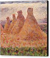 Straw Stacks Canvas Print by Georges Pierre Seurat