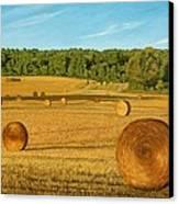 Straw Wheels - North Pickering Canvas Print by Allan OMarra