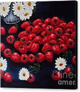 Strawberries And Daisies Original Painting Oil On Canvas Canvas Print by Drinka Mercep