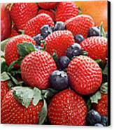 Strawberries Blueberries Mangoes - Fruit - Heart Health Canvas Print