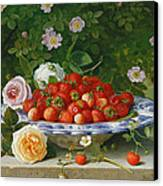 Strawberries In A Blue And White Buckelteller With Roses And Sweet Briar On A Ledge Canvas Print by William Hammer