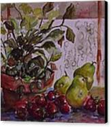 Strawberry Afternoon W/ Pears Canvas Print by Paula Marsh