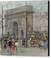 Street Scene In Paris Canvas Print by Eugene Galien-Laloue