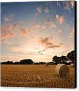 Stunning Summer Landscape Of Hay Bales In Field At Sunset Digital Painting Canvas Print by Matthew Gibson