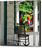 Suburbs - Porch With Rocking Chair And Geraniums Canvas Print by Susan Savad