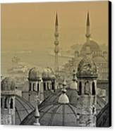 Suleymaniye Mosque And New Mosque In Istanbul Canvas Print by Ayhan Altun