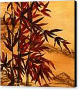 Sumi-e Red Bamboo Canvas Print by Diane Ferron