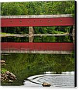 Summer Reflections At West Cornwall Covered Bridge Canvas Print by Thomas Schoeller