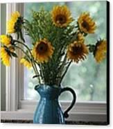 Sunflower Window Canvas Print by Paula Rountree Bischoff