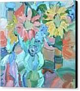 Sunflowers In Blue Vase Canvas Print by Brenda Ruark