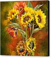 Sunflowers In Sunflower Vase - Square Canvas Print by Carol Cavalaris