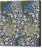 Sunflowers On Blue Pattern Canvas Print