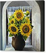 Sunflowers On The Window Canvas Print by Kiril Stanchev