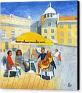 Sunlit Cafe Scene Canvas Print by Bav Patel