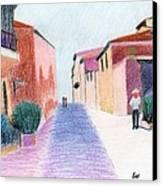 Sunlit Street Scene Canvas Print by Bav Patel
