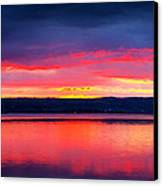 Sunrise In Cayuga Lake Ithaca New York Panoramic Photography Canvas Print