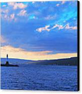 Sunrise On Cayuga Lake Ithaca New York Panoramic Photography Canvas Print by Paul Ge