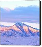 Sunrise On Snow Capped Mountains Canvas Print by Tracie Kaska