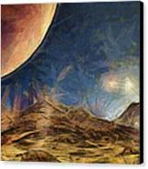 Sunrise On Space Canvas Print by Ayse Deniz