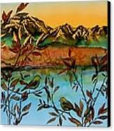 Sunrise On Willows Canvas Print by Carolyn Doe