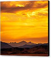 Sunset And Smoke Covered Mountains Canvas Print