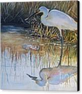 Sunset And Snowy Egret Canvas Print by Patricia Pushaw