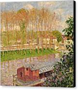 Sunset At Moret Sur Loing Canvas Print by Camille Pissarro
