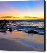 Sunset At The Beach Canvas Print by Sally Nevin