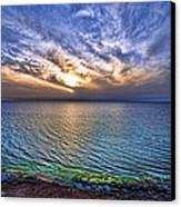Sunset At The Cliff Beach Canvas Print by Ron Shoshani