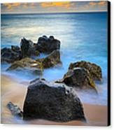 Sunset Beach Rocks Canvas Print by Inge Johnsson