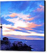 Sunset In Fork Williams Lighthouse Park Portland Maine State Canvas Print