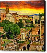 Sunset In Rome Canvas Print by Stefano Senise